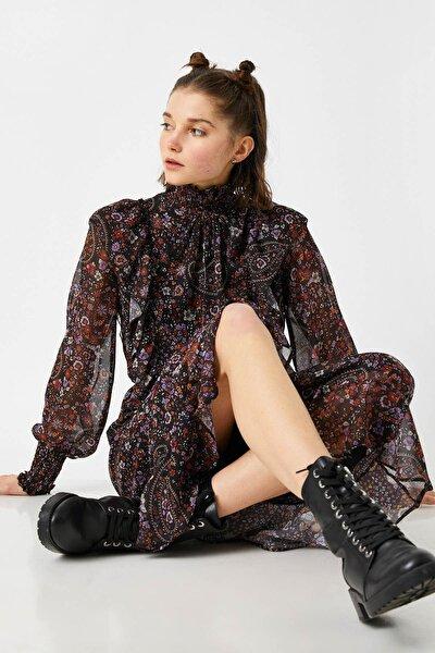 Kadın Siyah Desenli Elbise 1KAL88020IW