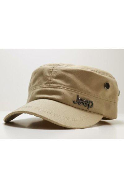Unisex Krem Jeep Model Castro Tarzı Şapka