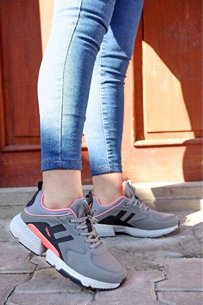 - 25739 Gri Pembe Kadın Spor Ayakkabı