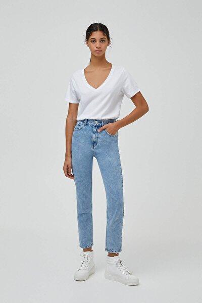 Kadın Açık Mavi Mom Fit Basic Jean