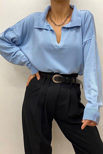 Kadın Mavi Polo Yaka Basıc Kazak