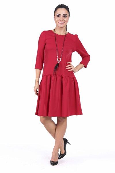 Kadın Kırmızı Büzgülü Elbise