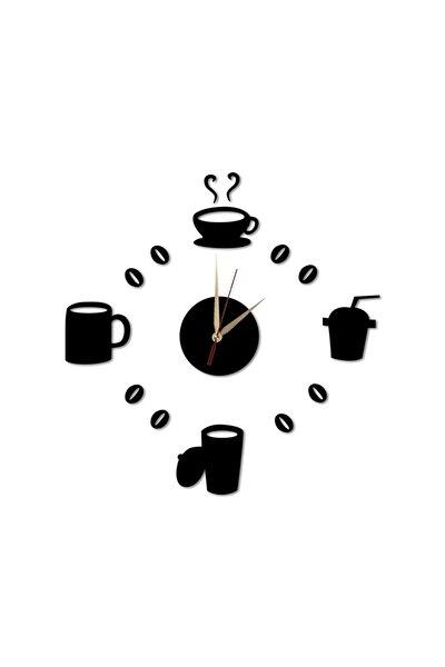 Lazer Kesim Ahşap Kahve Çay Fincan Siyah Duvar Saati Art1125