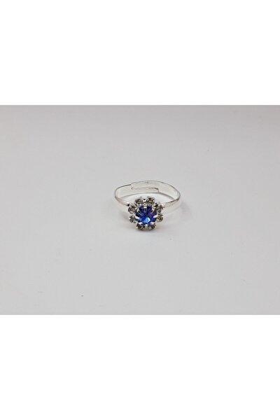 Mavi Taşlı Ayarlanabilir Kız Çocuk Yüzüğü