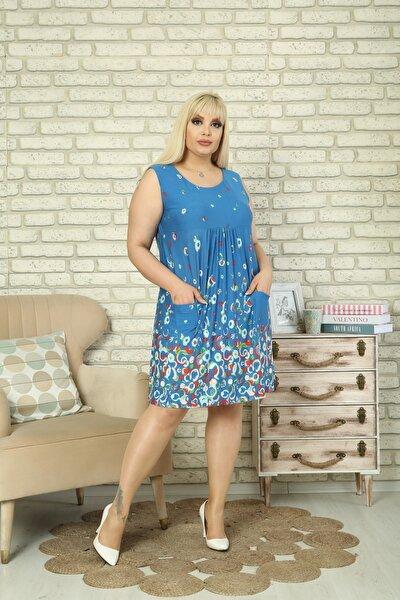 Kadın Mavi Çiçekli Elbise