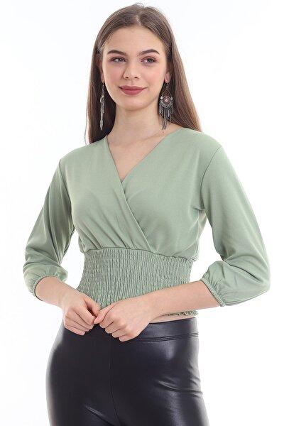Kadın Haki Kruvaze Yakalı Gipeli Bluz