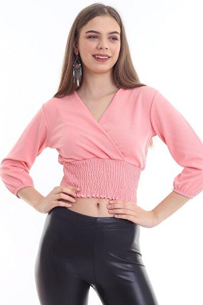 Kadın Pembe Kruvaze Yakalı Gipeli Bluz