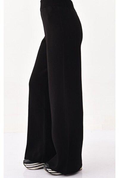 Kadın Siyah Bol Paça Triko Pantolon