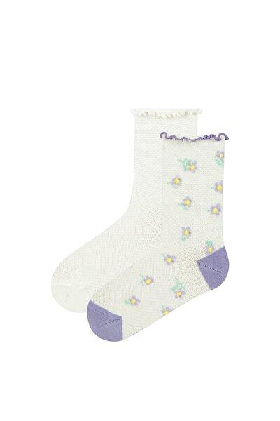 Pembe Beyaz Kız Çocuk Farmer Lıfe  Soket Çorap 2'li