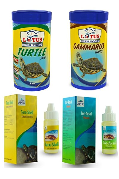 Kaplumbağa Seti, 100 Ml Lotus Turtle, 100 Ml Lotus Gammarus, Vitamin, Kabuk Sertleştirici