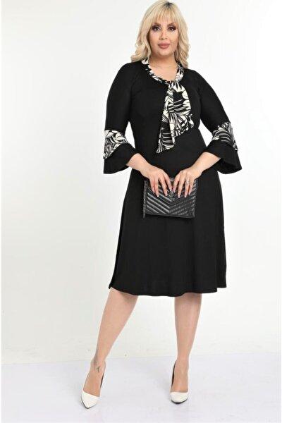 Kadın Siyah Kravatlı Palmiye Desen Detaylı Midi Elbise