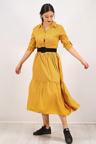 Kadın Hardal Katlama Kol Elbise - 4807.701