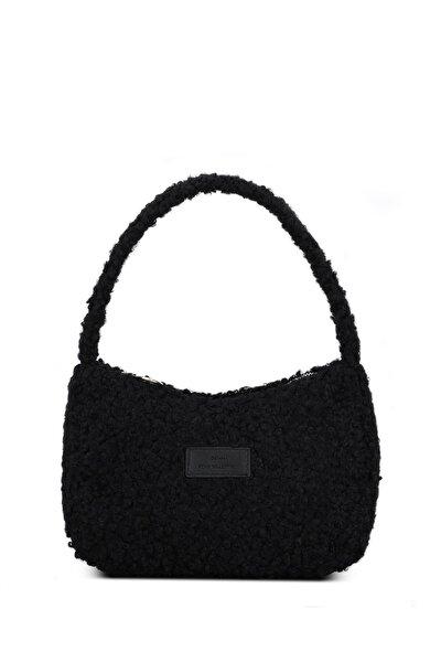 Kadın Siyah Suni Kürklü Baguette Çanta 197