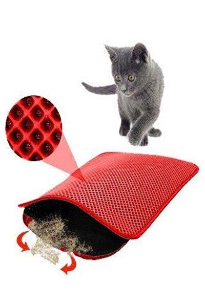 Elekli Kedi Tuvalet Önü Paspası 60x42,5 Cm Kedi Paspası Kırmızı