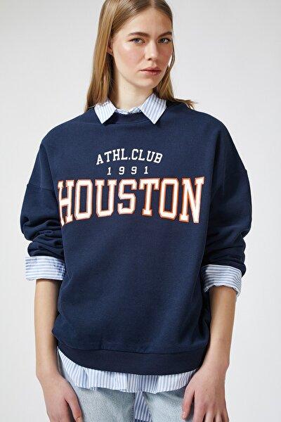 Kadın Kobalt Mavi Baskılı Polarlı Sweatshirt HF00169