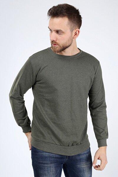 Erkek Haki Düz Sweatshirt