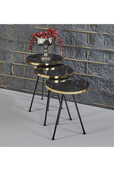 Rupon Home 3 Lü Zigon Sehpa-siyah Mermer Desenli Gold Pro Metal