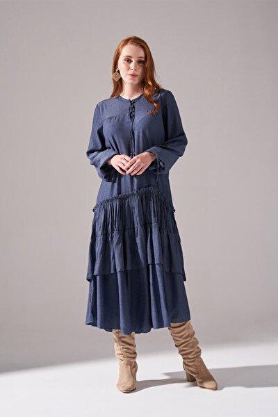 Kolları Büzgülü Kat Detaylı Elbise (Indigo)