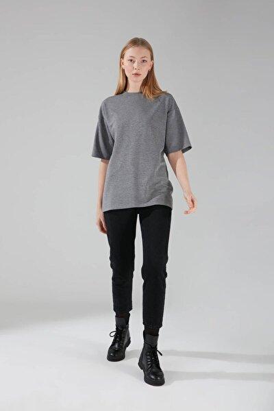 Kadın Gri İki İplik Kısa Kollu T-Shirt