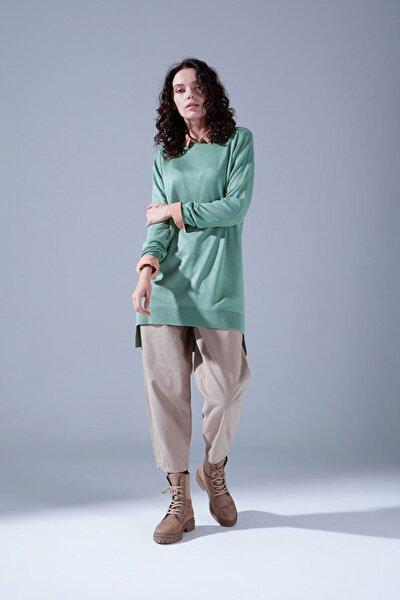 Kadın Yeşil Yuvarlak Yaka Triko Tunik
