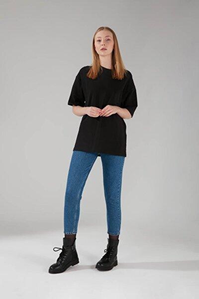 Kadın Siyah İki İplik Kısa Kol T-Shirt