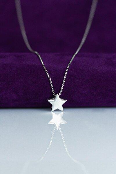 Gümüş Rengi Yıldız  Gümüş Kolye