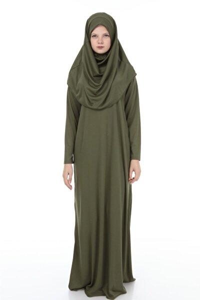 Kadın Haki Başörtülü Pratik Namaz Elbisesi