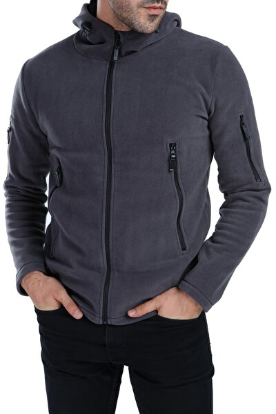 Erkek Gri Tactical Kapşonlu Ceket