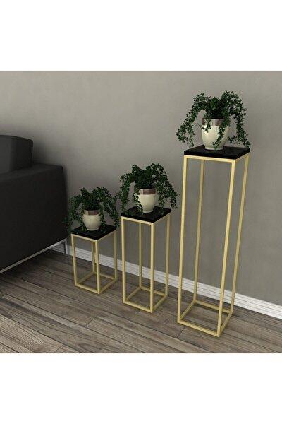 Saksı Standı Saksılık Çiçek Rafı Gold Metal-siyah Mermer Desen Ahşap