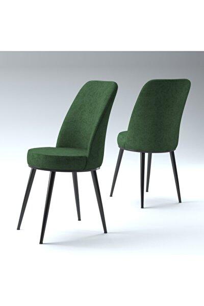 Sena Yeşil Gold Metal Siyah Ayaklı Mutfak Cafe Sandalyesi
