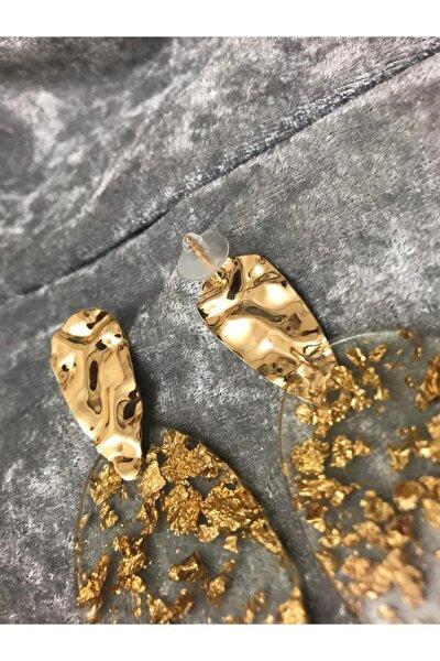 Şeffaf Içi Gold Sim Desenli Altın Kaplama Küpe