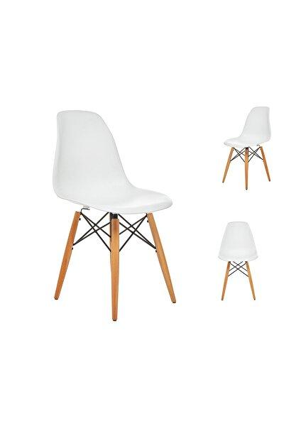 Beyaz Eames Sandalye Natural Ahşap Ayaklı | 2 Adet