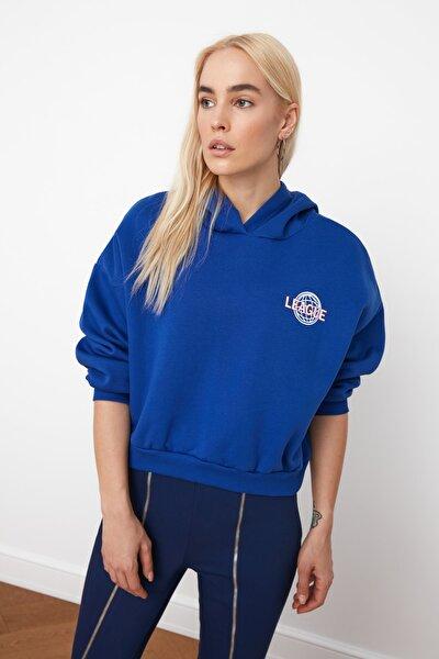 Saks Ön ve Sırt Baskılı Basic Örme Sweatshirt TWOAW21SW0047