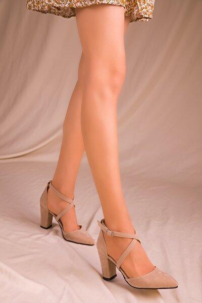 Vizon Süet Kadın Klasik Topuklu Ayakkabı 14391