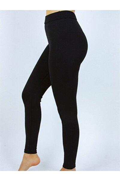 Kadın Siyah Çelik Örme Toparlayıcı Yüksek Bel Tayt
