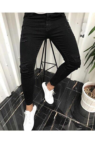 Erkek Siyah İtalyan Kesim Likralı Denim Kot Jeans