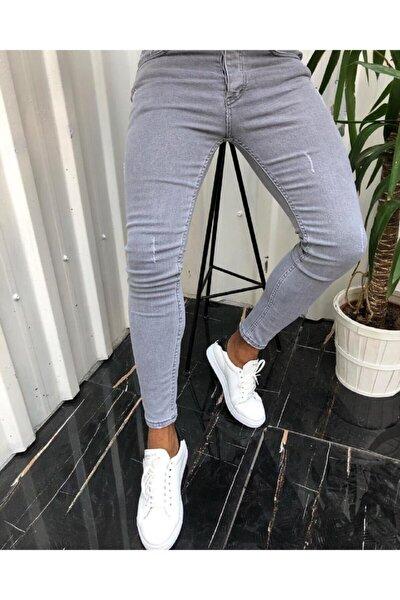 Erkek Gri İtalyan Kesim Denim Kot Jeans