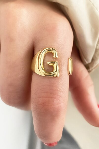 Altın Renk Harfli Metal Ayarlanabilir Yüzük