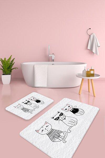 Meaw Kediler 2'i Takım Banyo Paspas Ve Klozet Takımı