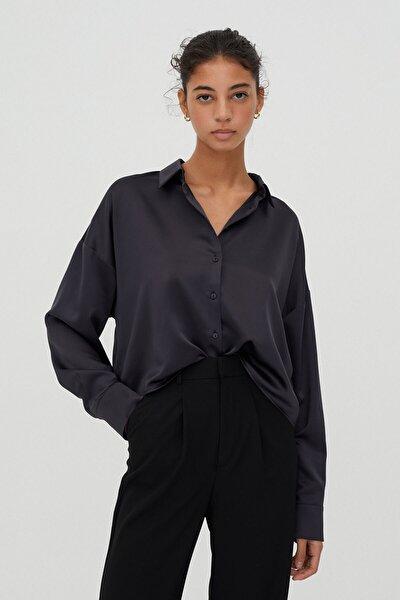 Kadın Koyu Mor Crop Fit Saten Gömlek 04470309