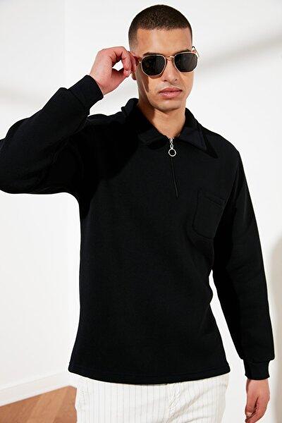 Lacivert Erkek Regular Fit Fermuarlı Gömlek Yaka Uzun Kollu Sweatshirt TMNSS21SW0159