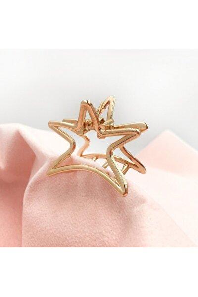 Kadın Altın Rengi Yıldız Detaylı Metal Mandal Toka