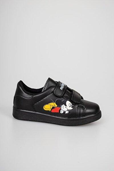 Unısex Çocuk Siyah Cırtlı Günlük Spor Ayakkabı