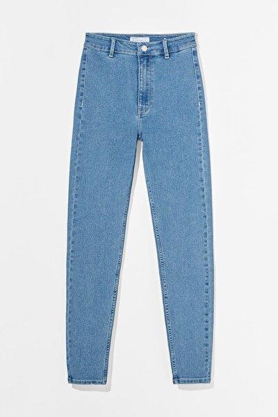 Kadın Mavi Süper Yüksek Bel Jegging Jean