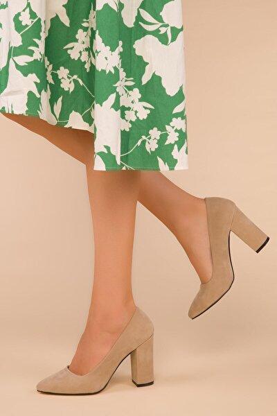Kadın Ten Süet Klasik Topuklu Ayakkabı