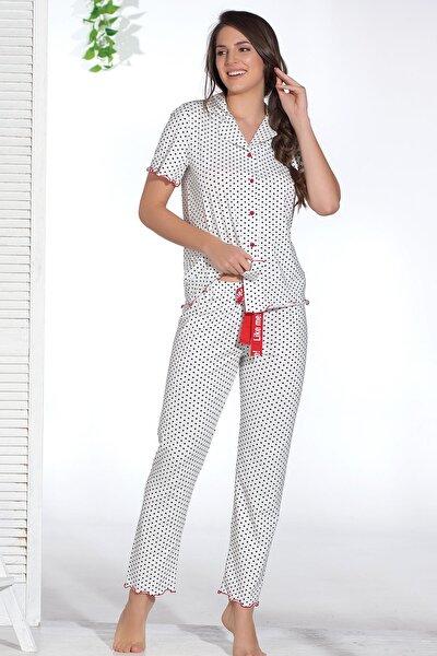 Kadın Beyaz Düğmeli Pijama Takımı