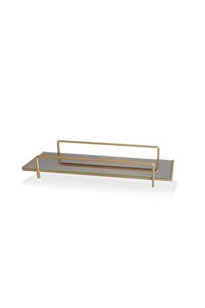 Galvaniz 37x13cm Gold Ayna Zemin Kozmetik Standı Glv0678