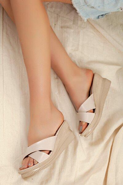 Kadın Kahverengi Günlük Klasik Topuklu Terlik