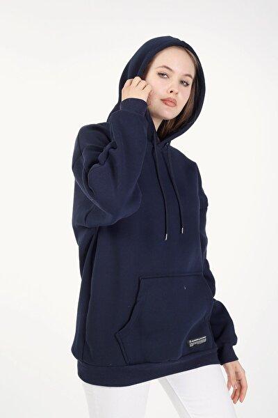 Kadın Lacivert Kapşonlu Oversize Sweatshirt