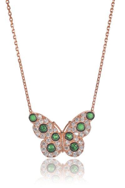 Kadın Pembe Altın 925 Ayar Gümüş  Zümrütlü Kelebek Kolye